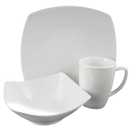Zen Buffetware 12 Piece Porcelain Square Dinnerware Set in White