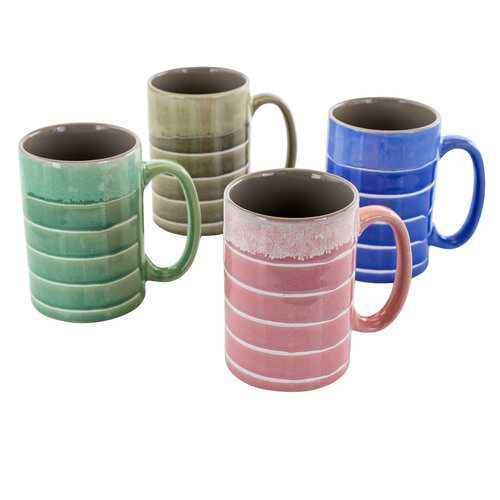 Meritage Reactive Layers 4 Piece 16 Ounce Stoneware Mug Set in Assorted Colors
