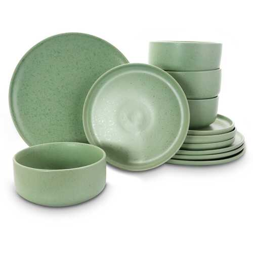 Gibson Home Stone Lava 12 Piece Dinnerware Set in Matte Mint, Service for 4