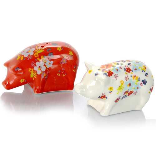 Urban Market Life on the Farm 2 Piece 4 Inch Durastone Figural Pig Salt & Pepper Shaker Set