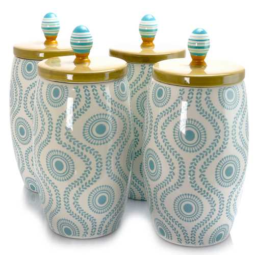 Urban Market Life on the Farm 4 Piece 2.3 Quart Canister Set in Blue and White