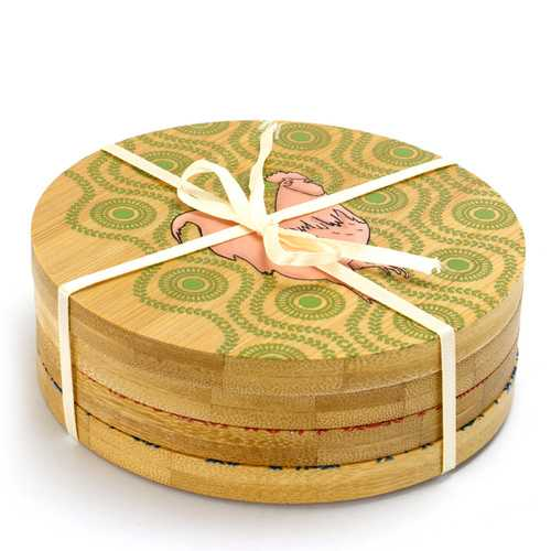 Urban Market 4 Piece Bamboo Coaster Set with Decorative Farm Animals