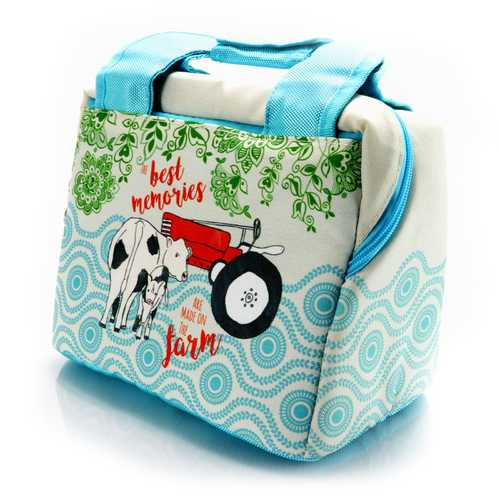 Urban Market Life on the Farm 10.25 Inch Lunch Bag in Farm Decorative Design