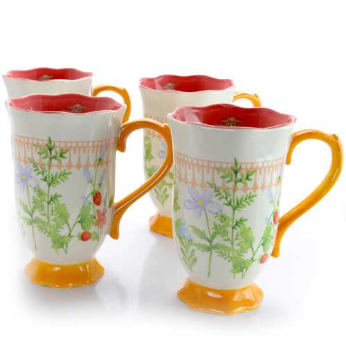 Urban Market Life on the Farm 4 Piece 16 Ounce Ceramic Footed Tea Cup Set in Floral Pattern