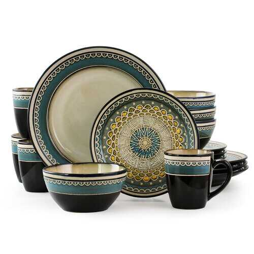 Gibson Elite Amberdale 16 Piece Stoneware Dinnerware Set in Teal, Service for 4