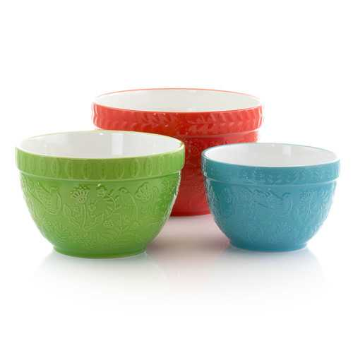 Gibson Abbey Stoneware 3 Piece Nesting Bowls in Assorted Colors