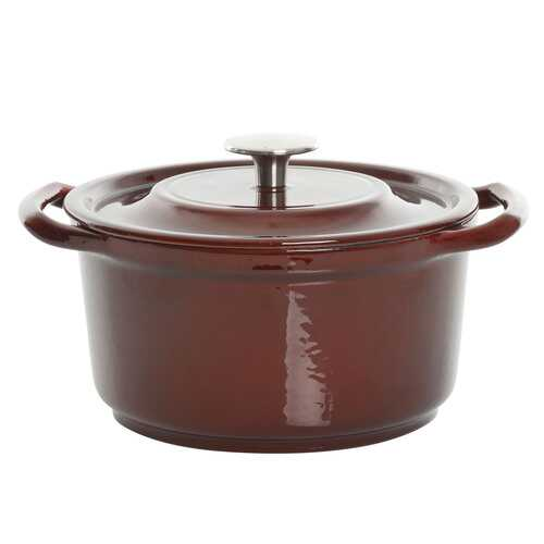 Kenmore Elite Oak Park 3 Quart Enameled Cast Iron Casserole with Lid and Glass Steamer in Brown