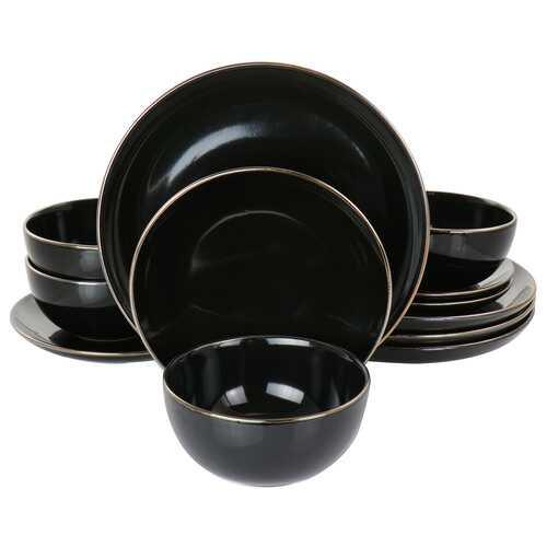 Gibson Home Rockaway Gold 12 Piece Stoneware Dinnerware Set in Black