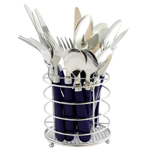 Gibson Sensations II 16 Piece Stainless Steel Flatware Set with Cobalt Handles and Chrome Caddy