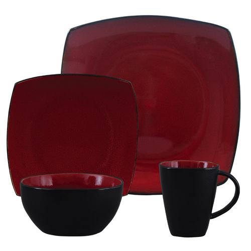 Gibson Soho Lounge 16 Piece Square Stoneware Dinnerware Set in Red and Black