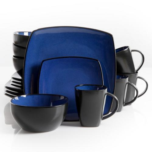 Gibson Soho Lounge 16 Piece Square Stoneware Dinnerware Set in Blue and Black