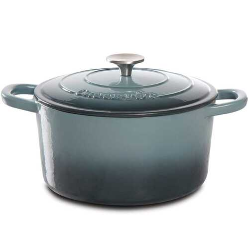 Crock Pot Artisan 5 Quart Round Enameled Cast Iron Dutch Oven in Slate Gray