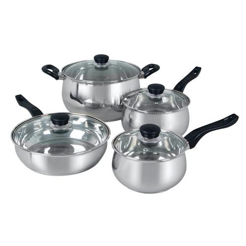 Oster Rametto 8 Piece Stainless Steel Kitchen Cookware Set with Glass Lids