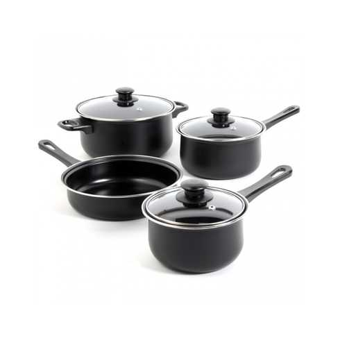 Gibson Home Chef Du Jour 7-Piece Cookware Set, Black