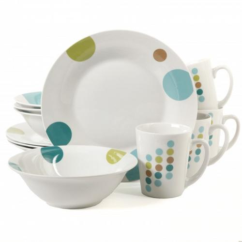 Gibson Home Retro Specks 12-Piece Multicolored Dinnerware Set
