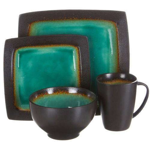 Gibson Ocean Paradise 16 Piece Square Stoneware Dinnerware Set in Jade