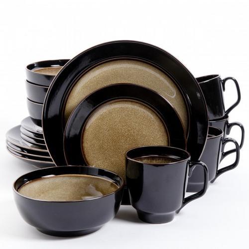 Gibson Elite Bella Galleria 16 Piece Stoneware Dinnerware Set in Taupe and Black