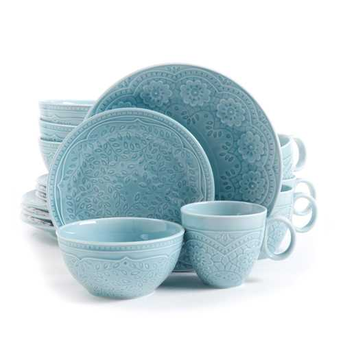 Gibson Elite Alemany 16-Piece Dinnerware Set, Aqua