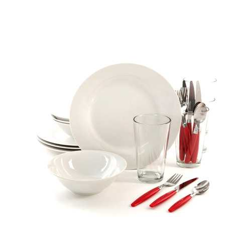 Gibson Home Delightful Dining 24-Piece Dinnerware Set in Red and White
