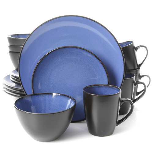 Gibson Elite Soho Lounge Round 16-Piece Dinnerware Set, Blue