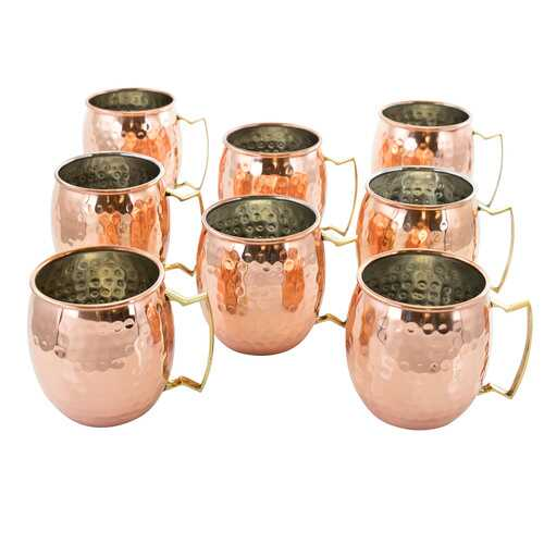 Gibson Elite Mule Mixer 8 Piece 18 Ounce Hammered Brass Copper Cup Set