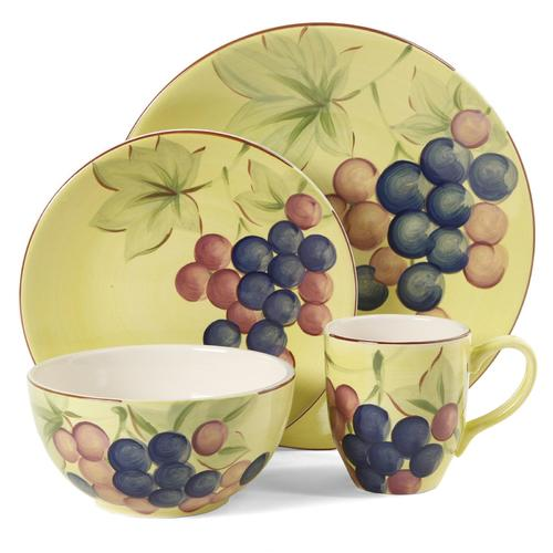 Gibson Home Fruitful Harvest Grapes 16pc Dinnerware Set