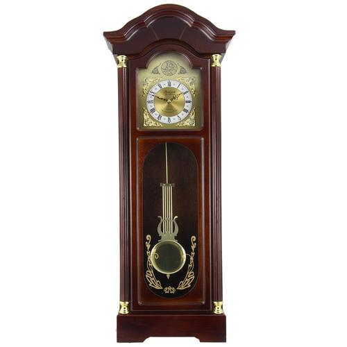 Bedford Clock Collection 33 Inch Chiming Pendulum Wall Clock with Antique Cherry Oak Finish