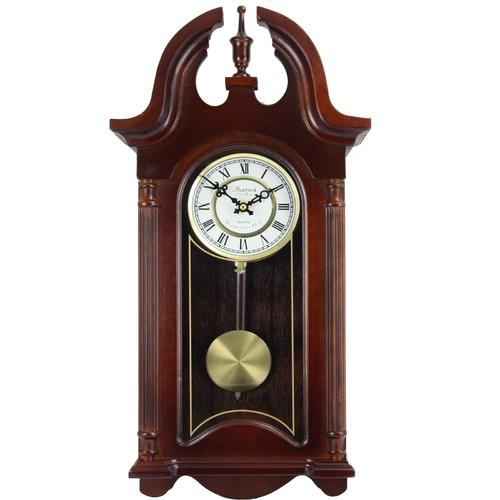 "Bedford Clock Collection 26.5"" Colonial Mahogany Cherry Oak Finish Chiming Wall Clock with Roman Numerals"
