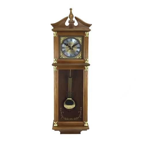 Bedford Clock Collection 34.5 Inch Chiming Pendulum Wall Clock in Harvest Oak Finish