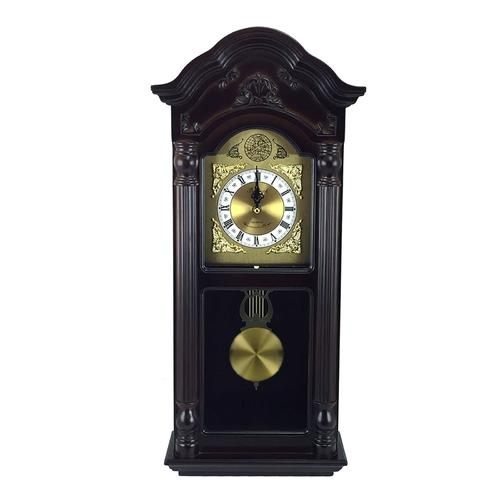 "Bedford Clock Collection 25.5"" Antique Mahogany Cherry Oak Chiming Wall Clock with Roman Numerals"