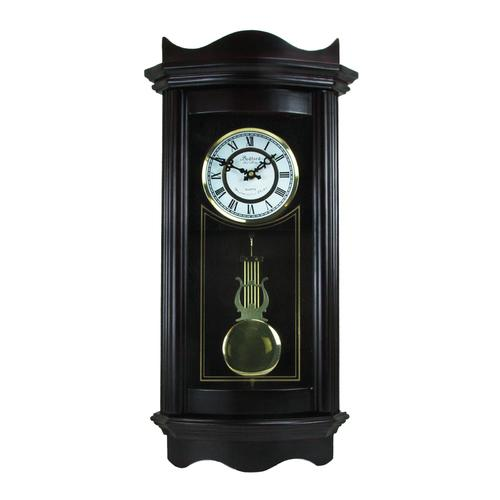 "Bedford Clock Collection Weathered Chocolate Cherry Wood 25"" Wall Clock with Pendulum"