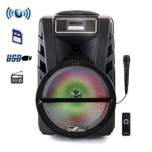 beFree Sound 12 Inch Portable PA Bluetooth Rechargeable Party Speaker with Reactive LED Lights