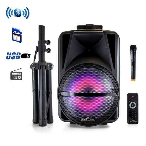 beFree Sound 12 Inch Bluetooth Rechargeable Portable PA Party Speaker with Reactive LED Lights and Stand