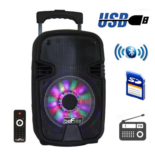 beFree Sound 8 Inch Bluetooth Portable Party Speaker with USB, SD and Reactive Lights