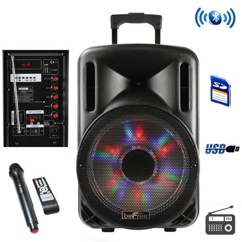 beFree Sound 12 Inch Bluetooth Rechargeable Party Speaker With Illuminating Lights
