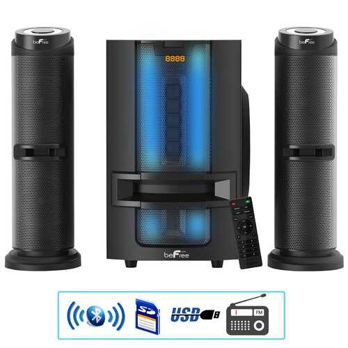 beFree Sound 2.1 Channel Multimedia Wired Speaker Shelf System with Sound Reactive LED lights and USB Input