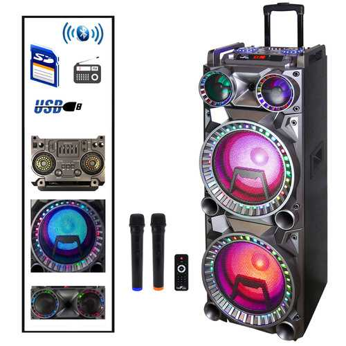 Befree Sound 700W Dual 10 Inch Subwoofer Bluetooth Portable Party Speaker with Sound Reactive Party Lights, USB/ SD Input, Rechargeable Battery, Remote Control And 2 Wireless Microphones