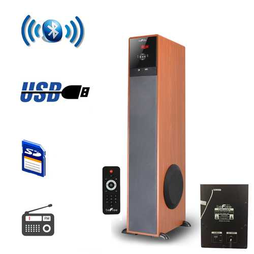 beFree Sound Bluetooth Powered Tower Speaker - Wood