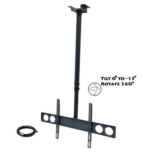 "MegaMounts Heavy Duty Tilting Ceiling Televeision Mount for 37"" to 70"" LCD, LED and Plasma Televisions with HDMI Cable"