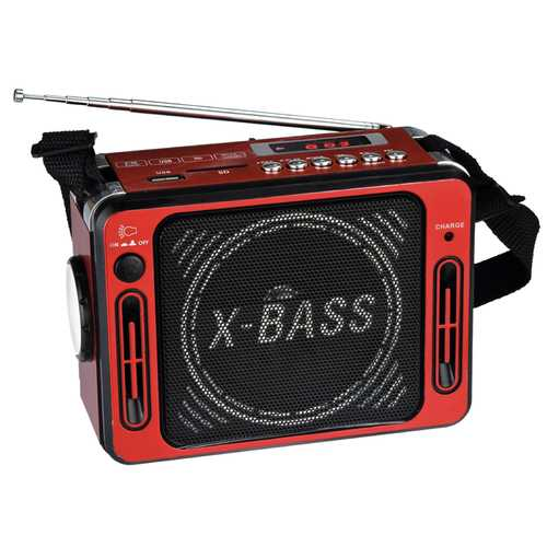 QFX Karaoke Multimedia Speaker with FM Radio- Red
