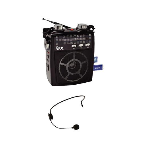 QFX Portable Pa system USB/SD and AM/FM/SW1-6 Radio 8 Band Radio- Black