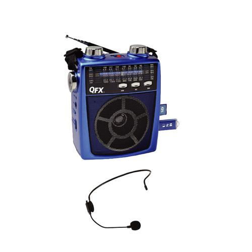 QFX Portable Pa system USB/SD and AM/FM/SW1-6 Radio 8 Band Radio- Blue