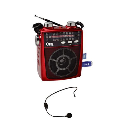 QFX Portable Pa system USB/SD and AM/FM/SW1-6 Radio 8 Band Radio- Red