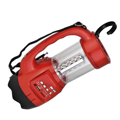 QFX Emergancy Flashlight/Lantern FM Radio USB/SD and Recording Built-in Rechargeable Battery- Red