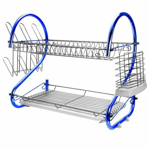 MegaChef 16 Inch Two Shelf Iron Wire Dish Rack in Blue