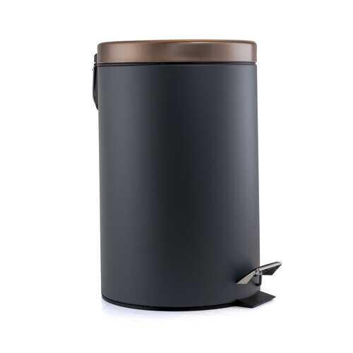 Elama 12 Liter Stylish Grey and Copper Soft Pedal Office, Kitchen and Bathroom Trash Bin
