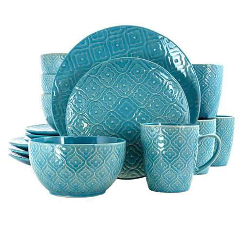 Elama Aqua Lily 16 Piece Luxurious Stoneware Dinnerware with Complete Setting for 4