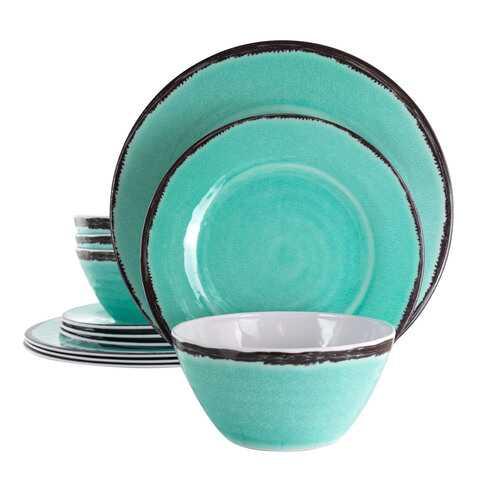 Elama Azul Banquet 12 Piece Lightweight Melamine Dinnerware Set in Turquoise