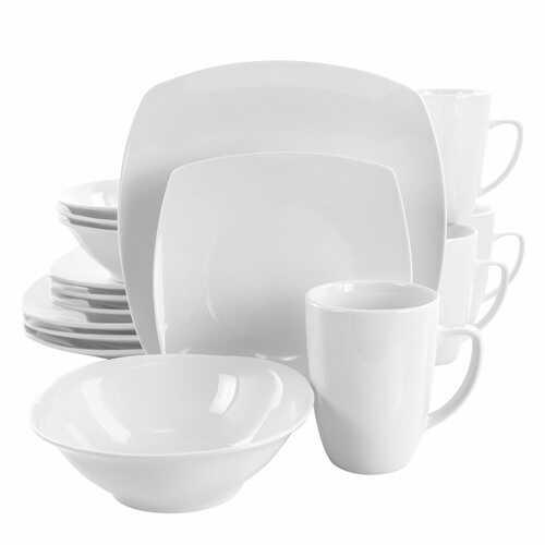 Elama Bishop 16 Piece Soft Square Porcelain Dinnerware Set in White