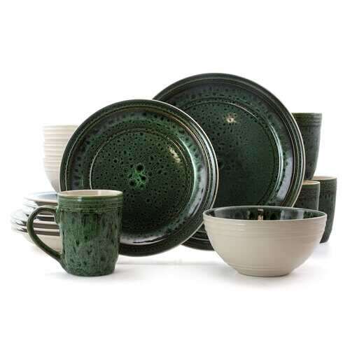 Elama Blue Jade 16 Piece Luxurious Stoneware Dinnerware with Complete Setting for 4